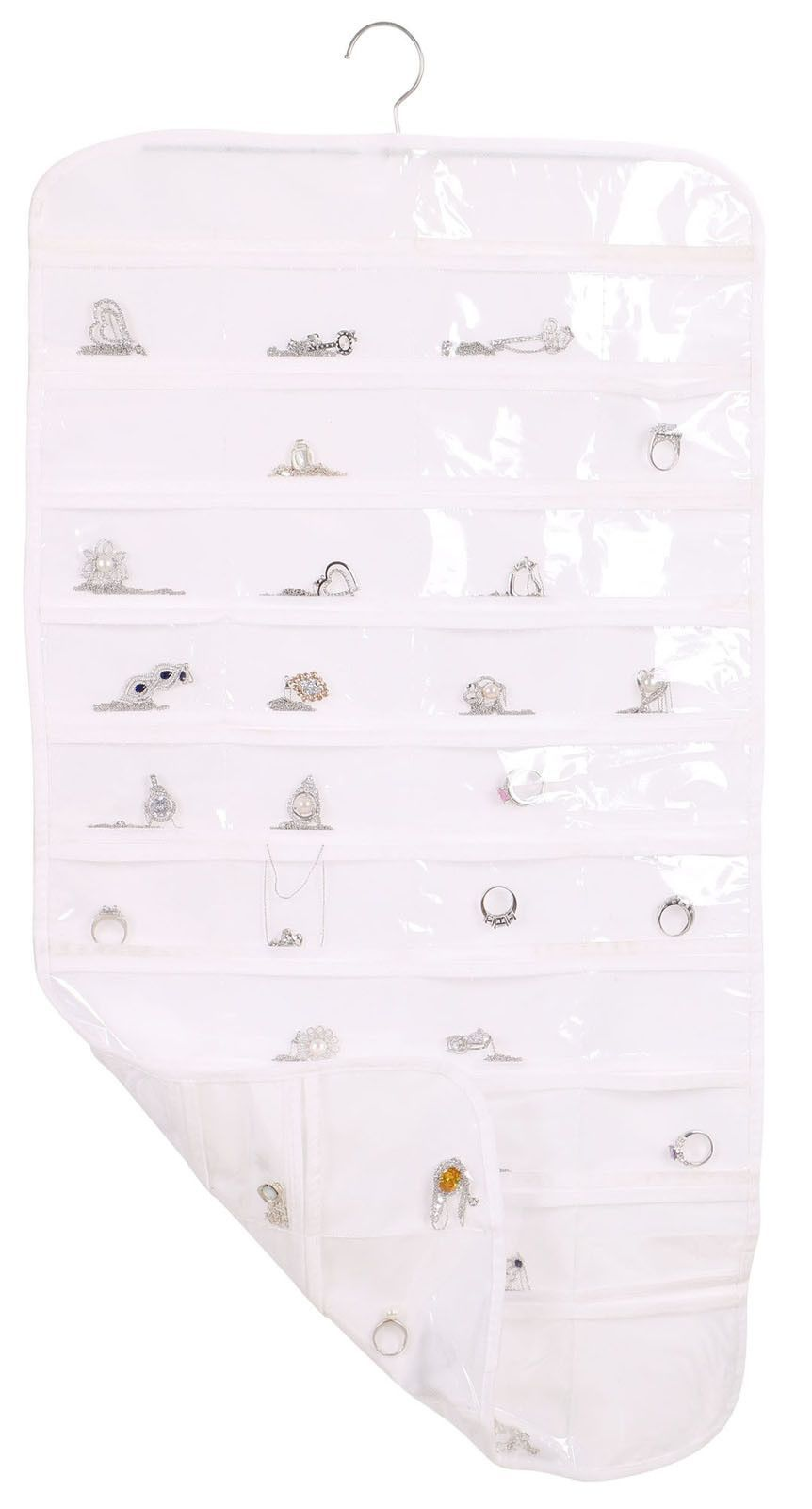80 Pocket Hanging DualSided Jewelry Organizer White For the Home