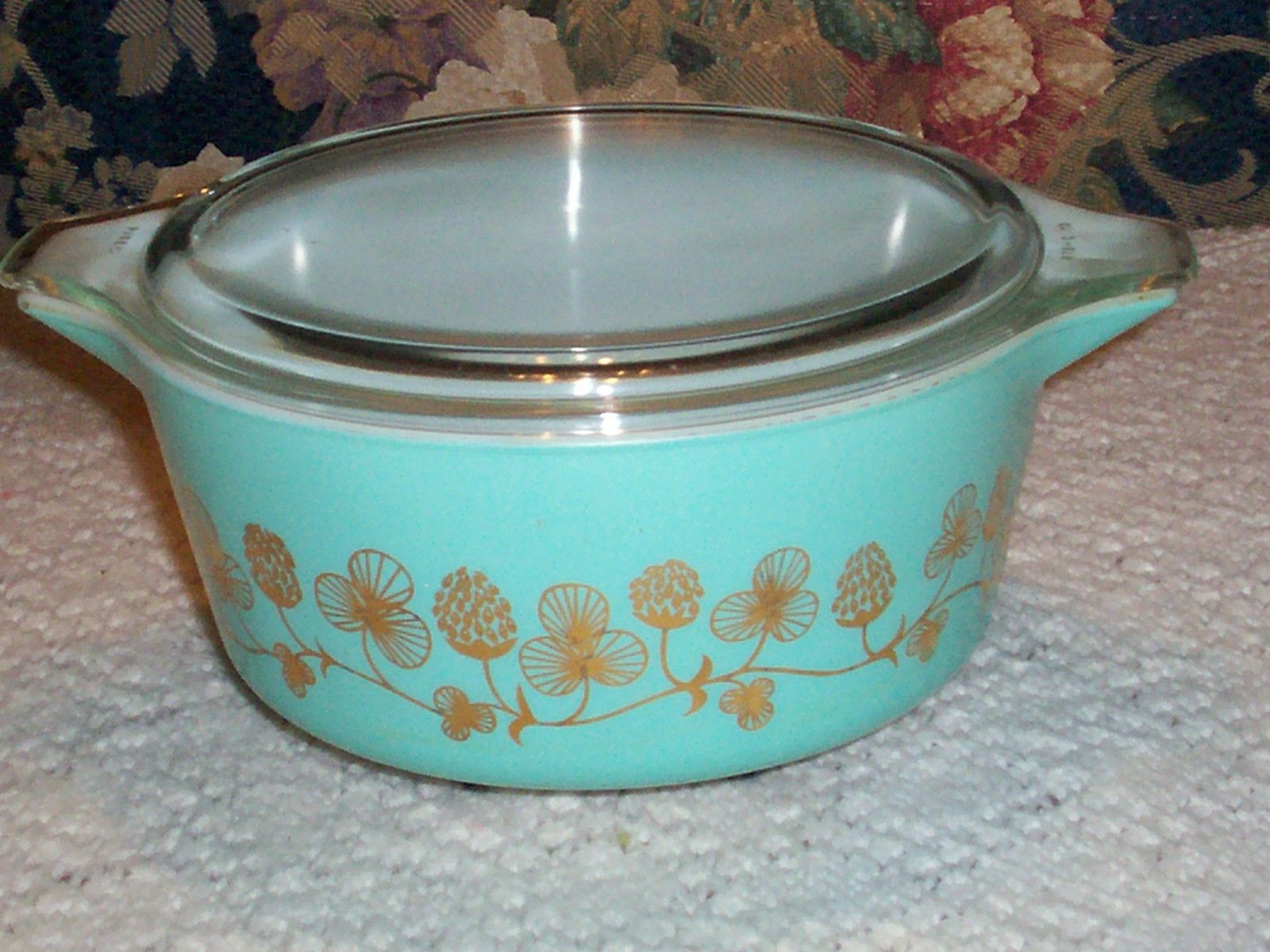 Vintage rare pyrex turquoise clover berry 475 casserole * barcode ...