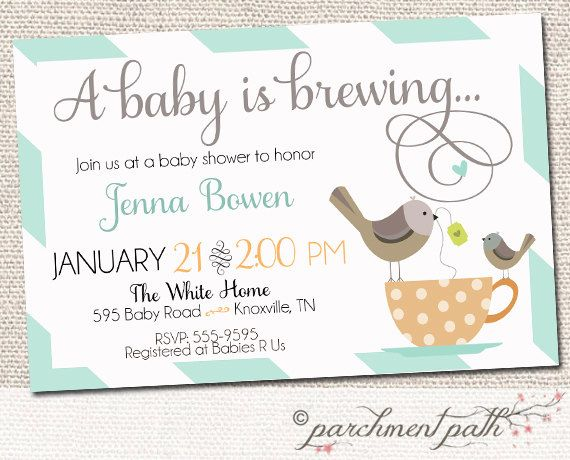 baby is brewing shower invitation - baby shower - coffee or tea,