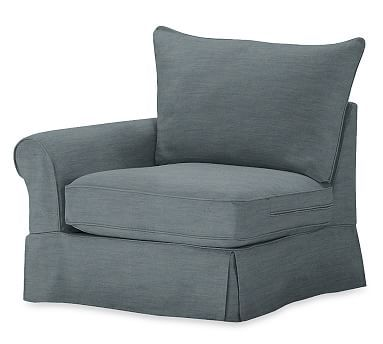 PB Comfort Roll Arm Slipcovered Left Arm Chair, Knife Edge Down Blend Wrapped Cushions, Denim Washed Indigo