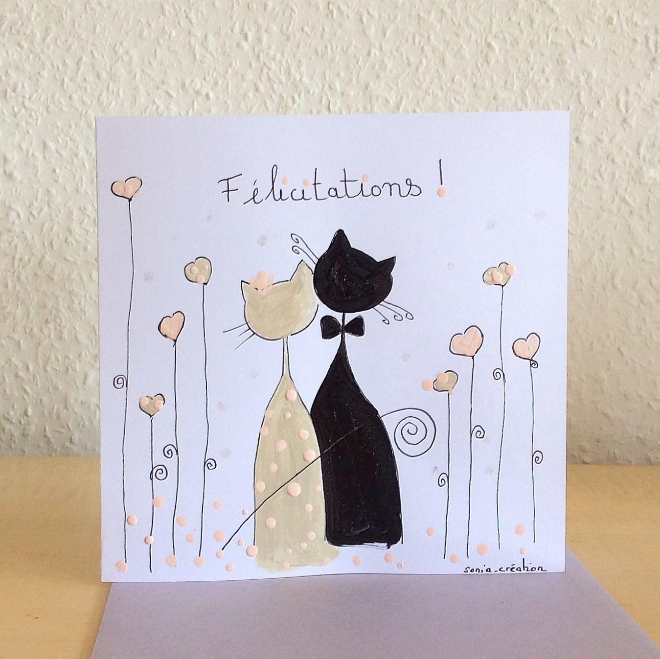 Carte mariage carte f licitations carte peinte la main carte mariage noir et blanc cartes - Felicitations mariage originale ...