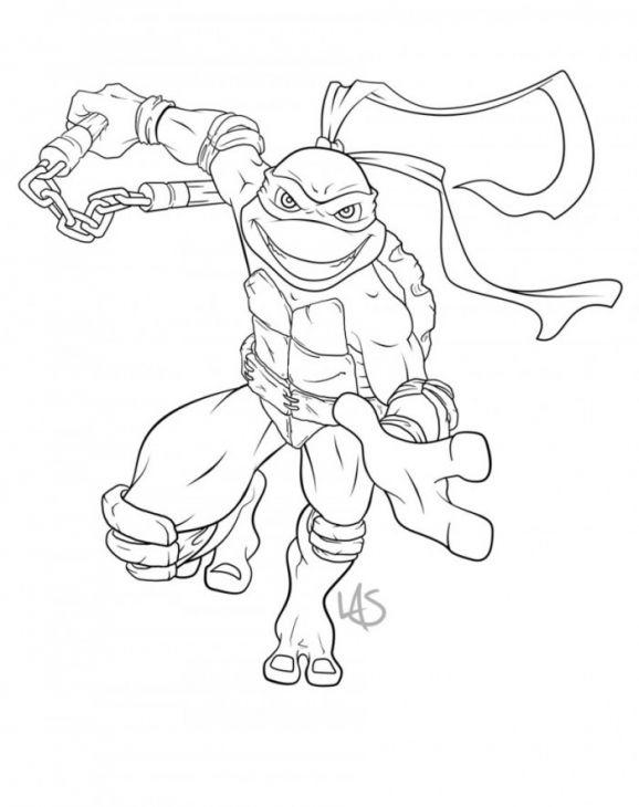 Michelangelo Of Tmnt Free Kids Coloring Sheet To Print Turtle