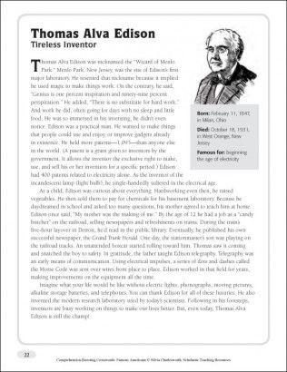 Thoma Alva Edison Nonfiction Passage Crossword Puzzle Frederick Douglas Essay Questions