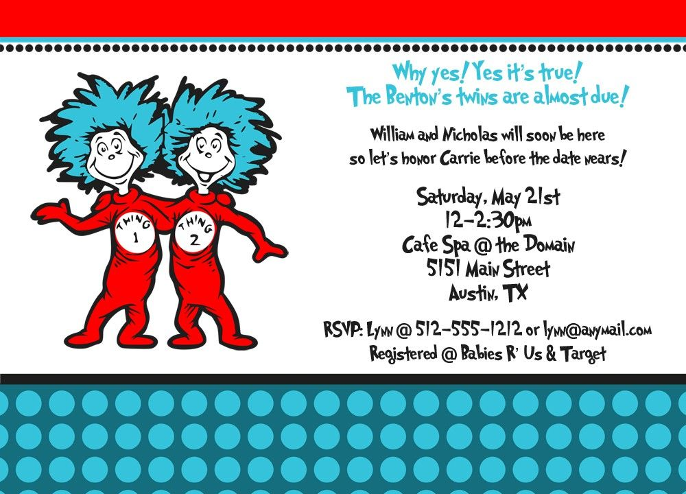 Thing 1 and Thing 2 Baby Shower Invitation. $14.00, via Etsy ...