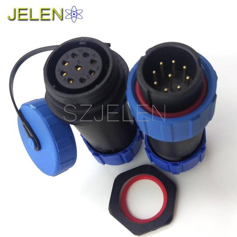 Sp2110 9 Pin Waterproof Cable Connector Ip68 Power Connector Industrial Power Supply Wire And Connector Ip68 High Voltage Waterproof Plug Socket