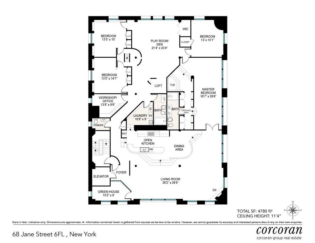 Sprawling Jane Street Loft With Quirky Midcentury Vibe Returns For 11 5m Floor Plans New York Apartments House Plans