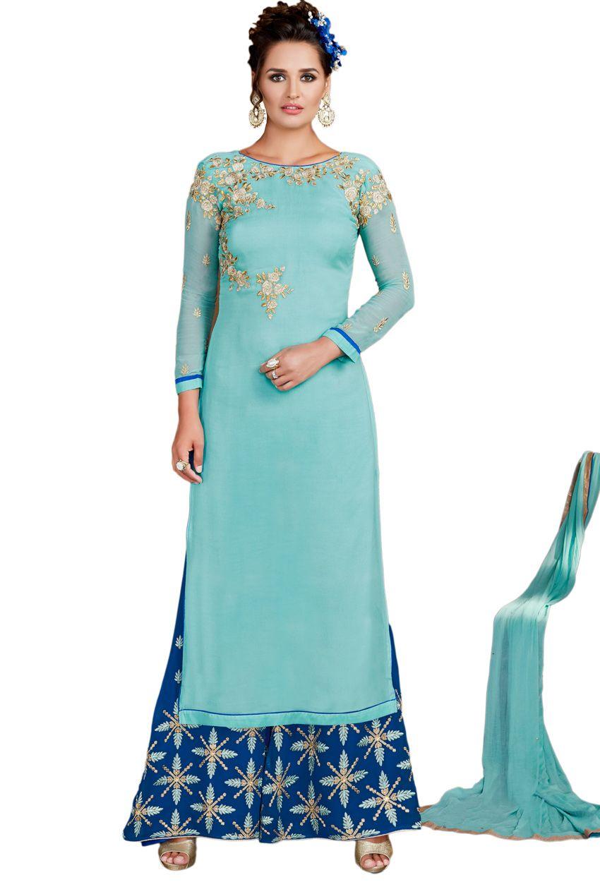 Semi Stitched Aqua Blue Georgette Partywear Palazzo Suit | Pinterest ...