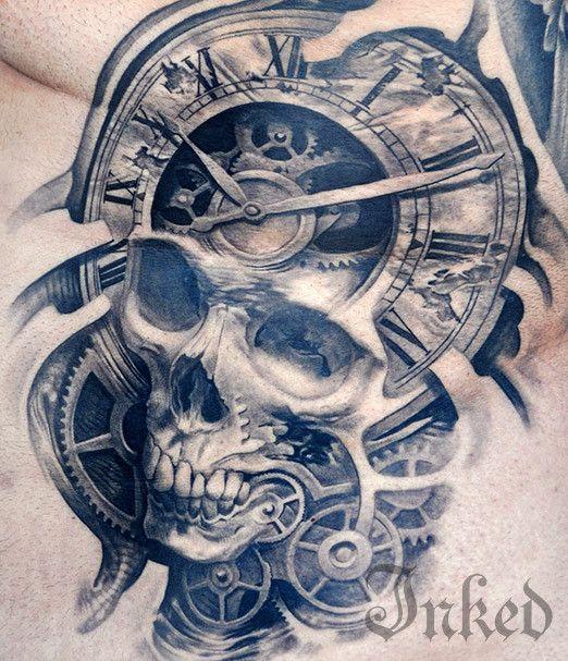 Timeline Gallery #InkedMagazine #blackandgray #gears #skull #tattoo #tattoos #inked #ink