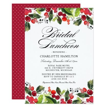 holiday season bridal luncheon christmas floral invitation in 2018