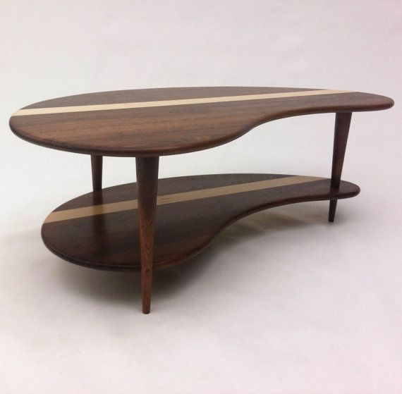 Mid Century Modern Coffee Cocktail Table   Solid Walnut With Shelf   Kidney  Bean Shaped