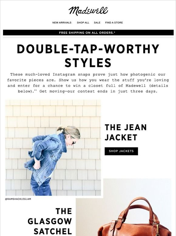 Double Tap Worthy Style - Madewell Email Newsletter Design
