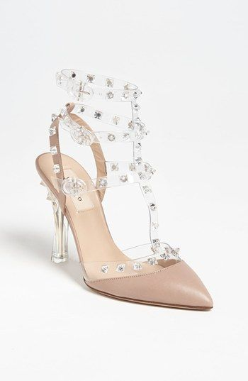 714f97f9043 Valentino 'Rockstud' Nude clear studded T-Strap Pump available at ...
