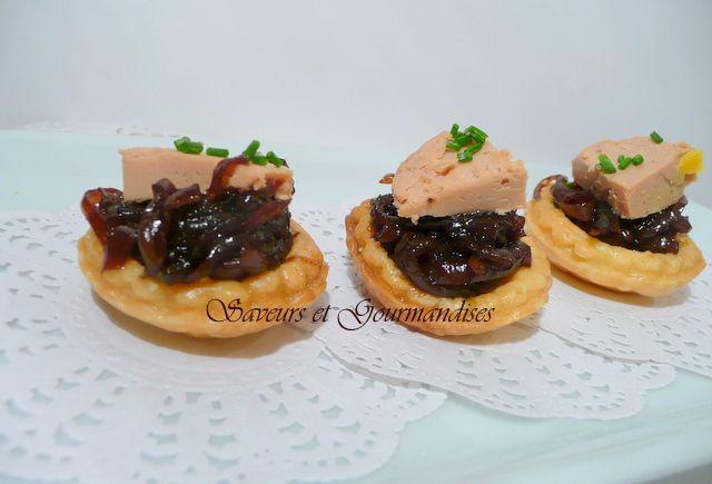 Saveurs et Gourmandises: Mini-tartelettes au Foie Gras et au Confit d'Oigno...