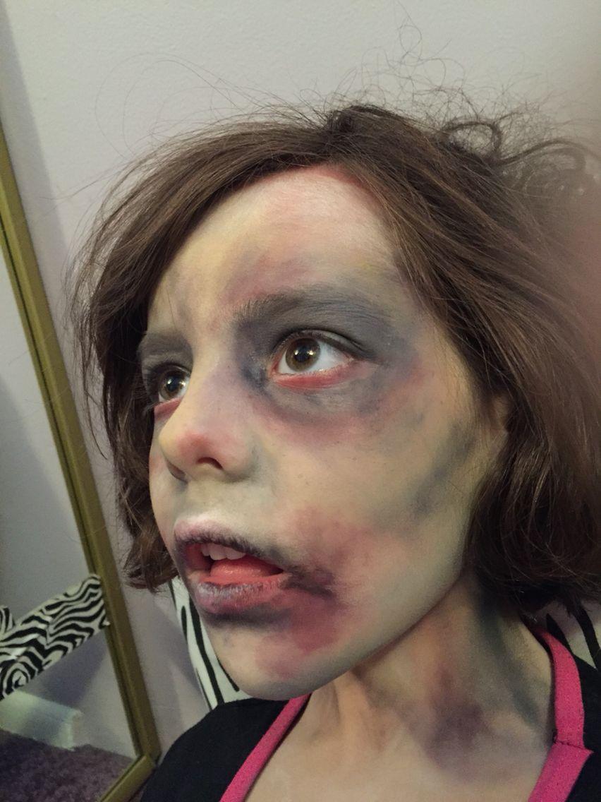 zombie child face paint make-up www.facebook/facepaintingbymarli