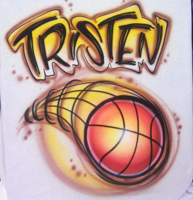 9a6d1380d Airbrushed T-shirt Basketball Any Name Any Colors Any Size ...