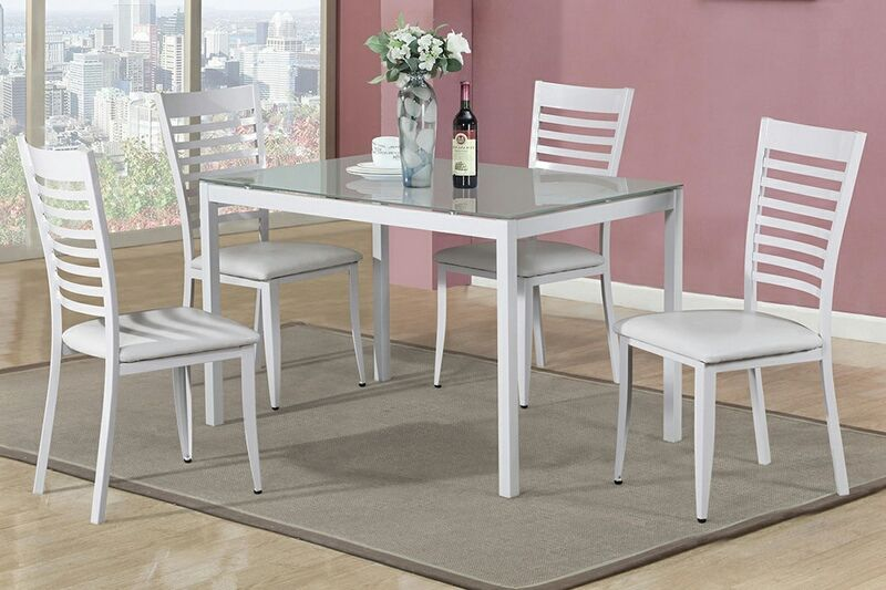 5 Pc Moderna Collection White Rectangular Glass Top And Vinyl Seat Dining Table Chairs