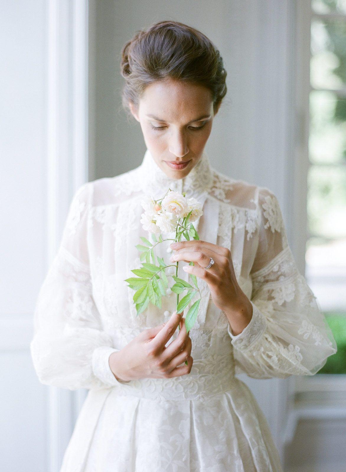 Elegant French Chateau Wedding Inspiration Long Sleeve Wedding
