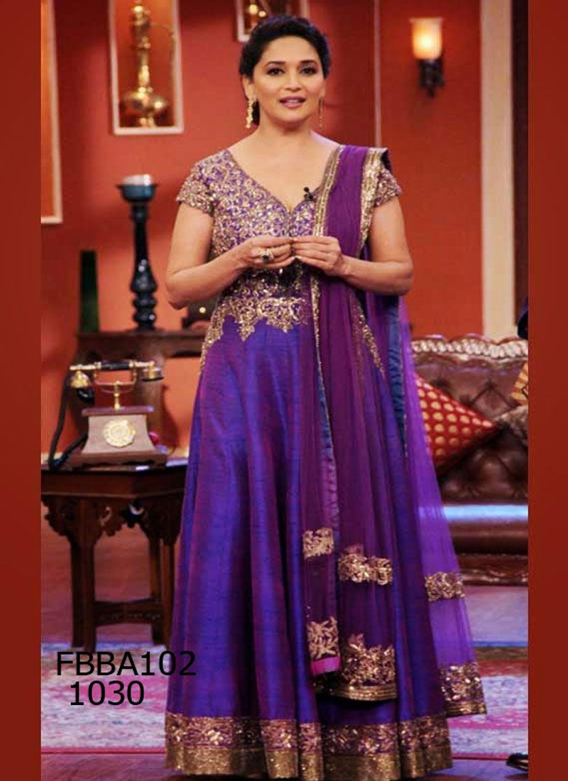 Fabboom Madhuri Dixit Purple Floor Length Anarkali Suits Rs 3040 Bollywood Fashion Bollywood Dress Indian Wedding Dress