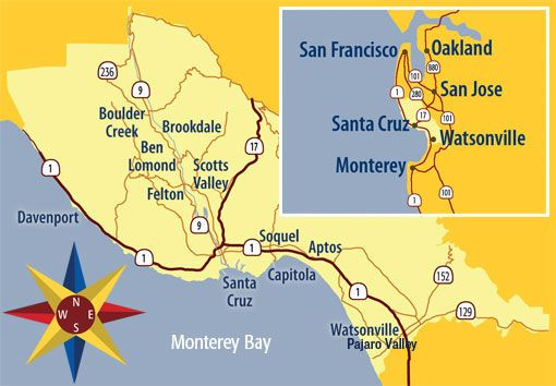 Santa Cruz California Map.Santa Cruz County Ca County Map Ucsc Santa Cruz Beach Santa