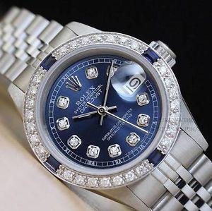 8bca1834c94 LADIES ROLEX 18K WHITE GOLD SS VIGNETTE BLUE DIAMOND DATEJUST WATCH.  Relógios FemininosRelógios MasculinosBijuterias ...