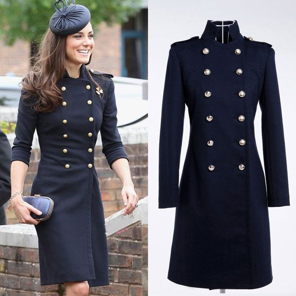 Double-breasted Womens Coat England Mandarin Collar military ...