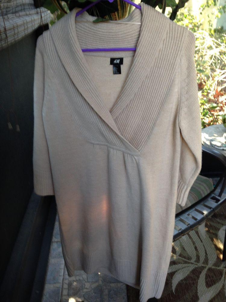 H & M Acrylic 3/4 Sleeve Womens Sz. M Sweater Dress #HM #Collared