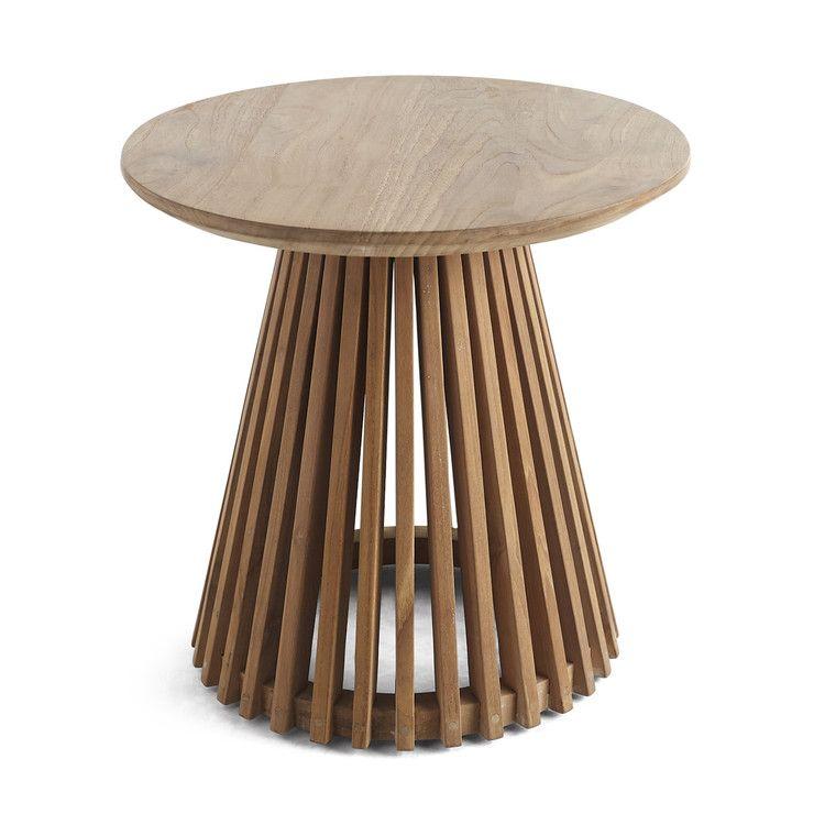 Slatted Teak Circular Side Table Teak Side Table Side Table