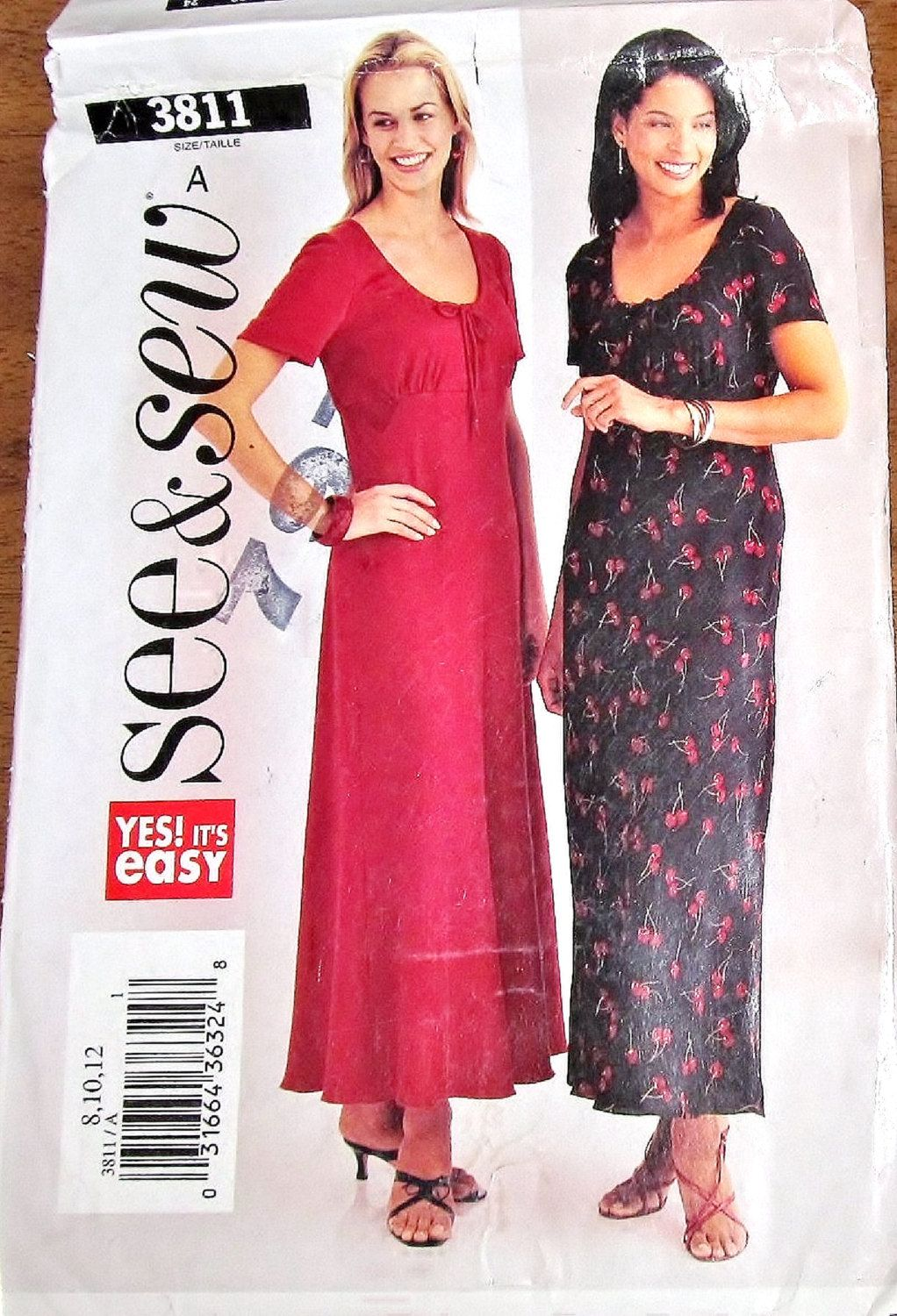 Butterick see sew 3811 fitted empire scoop neck maxi