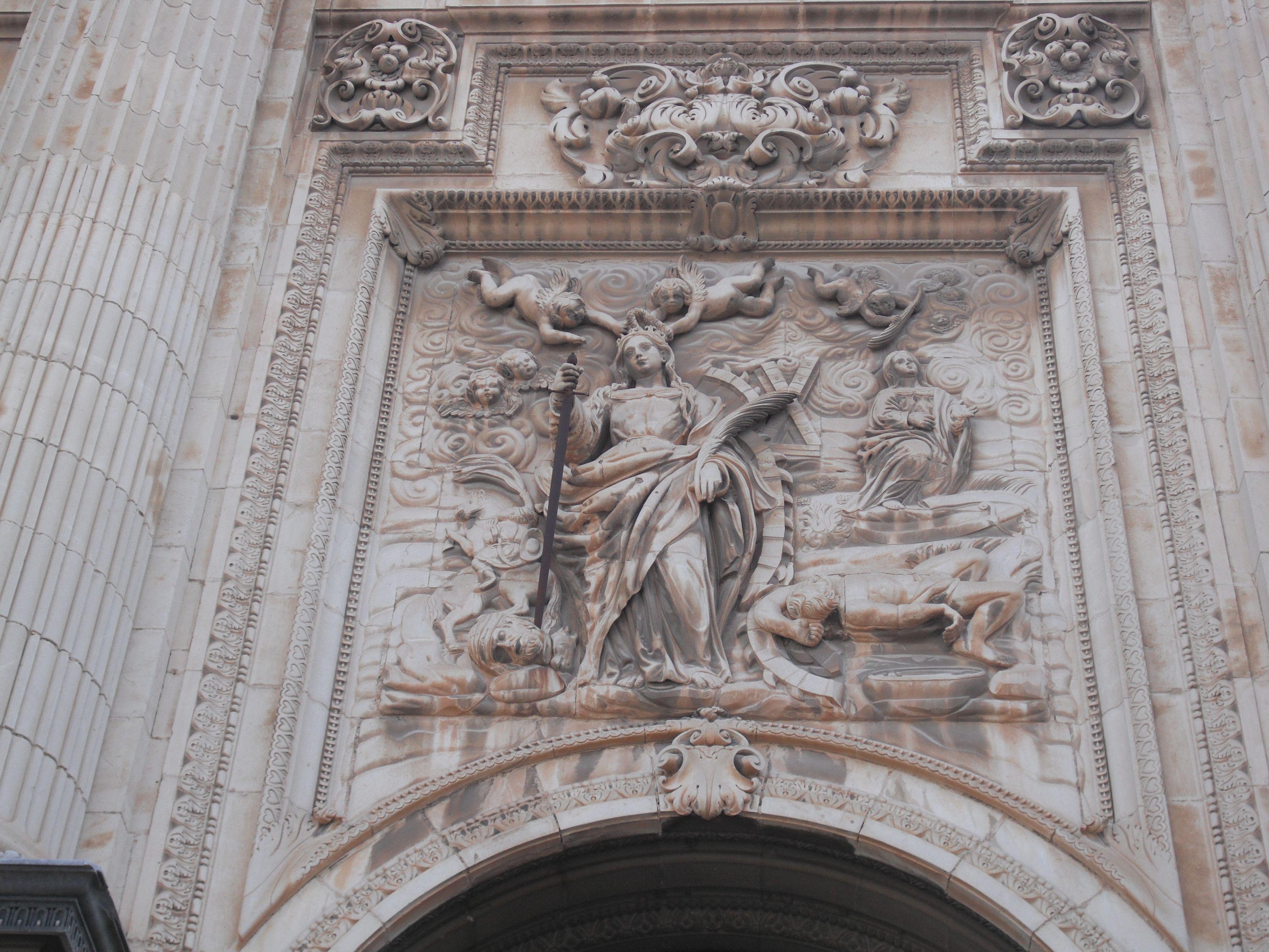 detalle de la fachada principal de la catedral de Jaén
