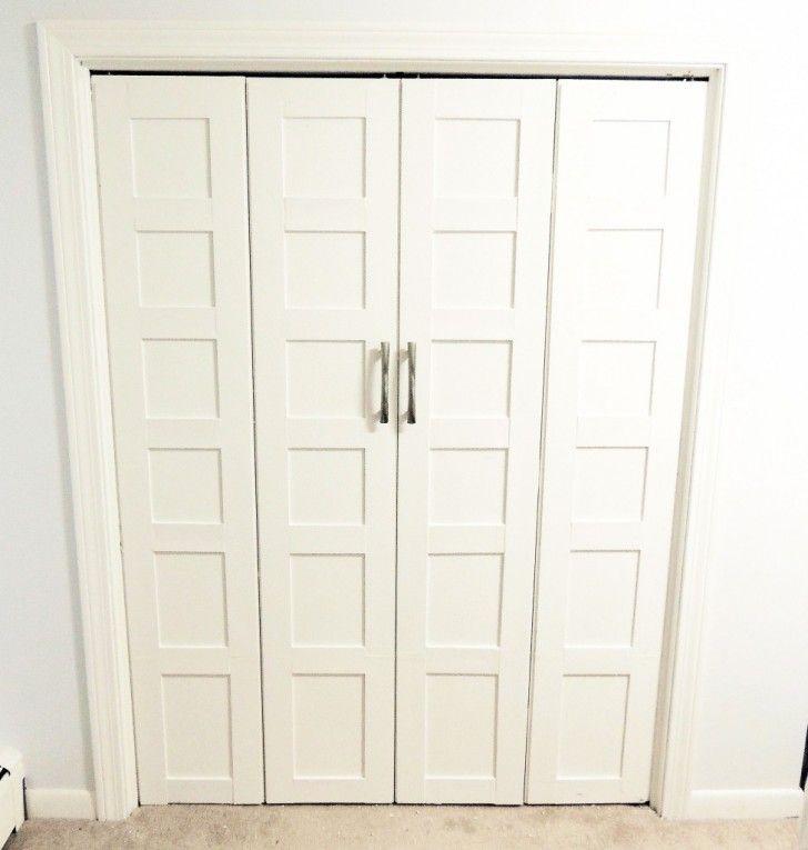 Simple Bedroom Bifold Accordion Closet Organizer White Wooden Sliding Door  Closet Ideas Stainless Steel Bar Handles Door Closet White Door Frame Molding   ...