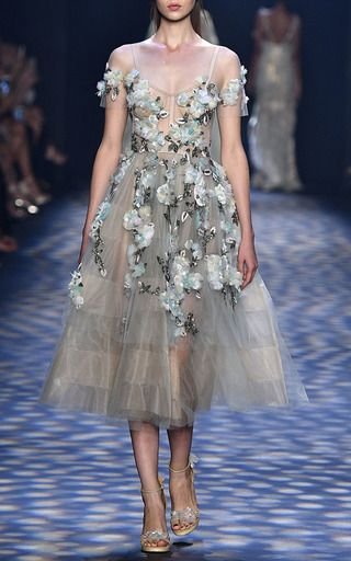Off The Shoulder Tea Length Cocktail Dress by MARCHESA for Preorder ...