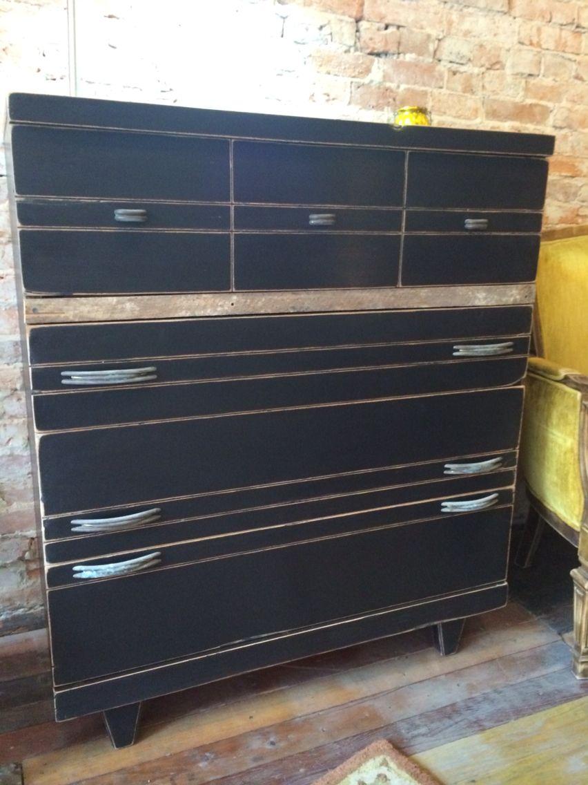 Funky smoke stack black dresser with aged original hardware