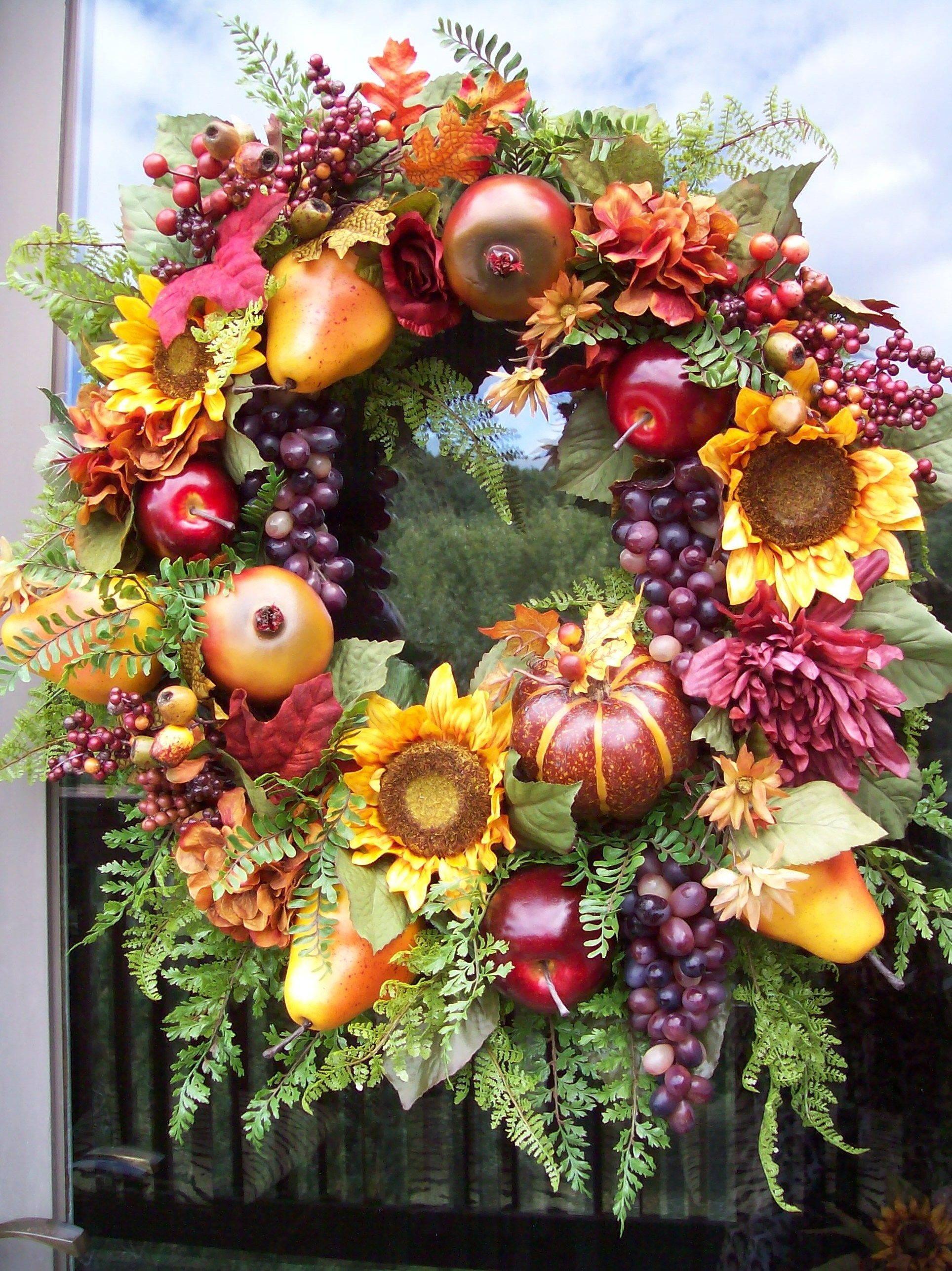 Bountiful Late Summer Fall Thanksgiving Anytime Tuscan Wreath Decoration