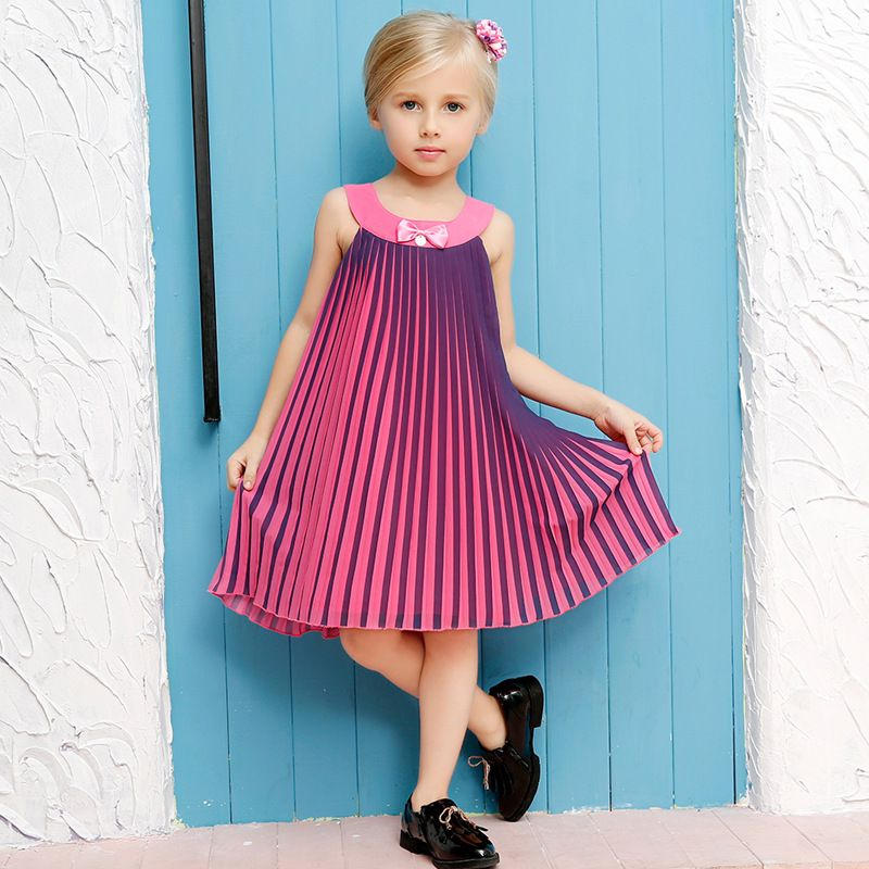 0-12Y Girl Evening Dress Cotton Pleated 2016 Summer Style Teenager ...