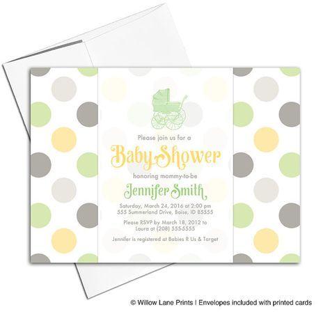 Gender Neutral Baby Shower Invites Green Yellow Gray Baby Shower