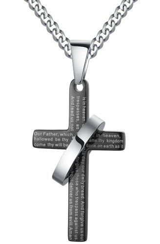 ai stainless steel jewelry g2005h3 cha ne avec pendentif en acier inoxydable en forme de croix. Black Bedroom Furniture Sets. Home Design Ideas
