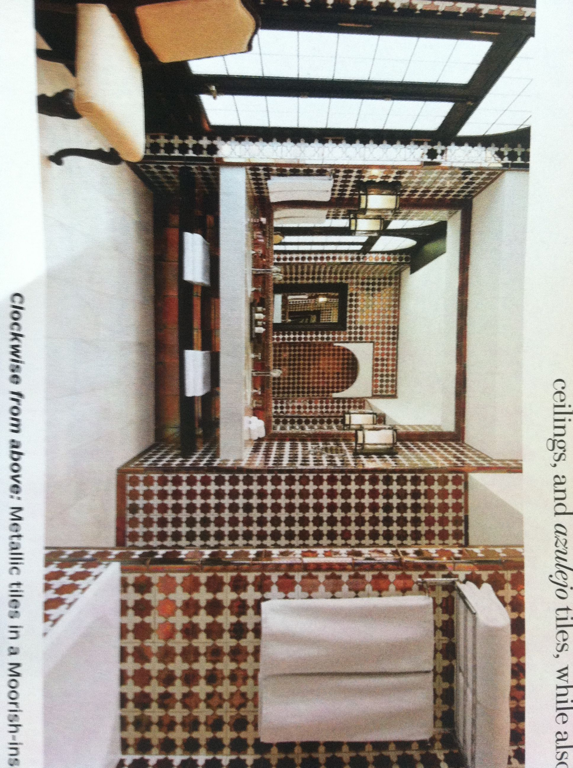 metallic tiles in a moorish-inspired pattern @ hotel alfonso xiii