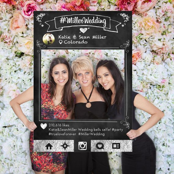 Social Media Photo Prop Chalkboard Frame Wedding Prop Party Photo