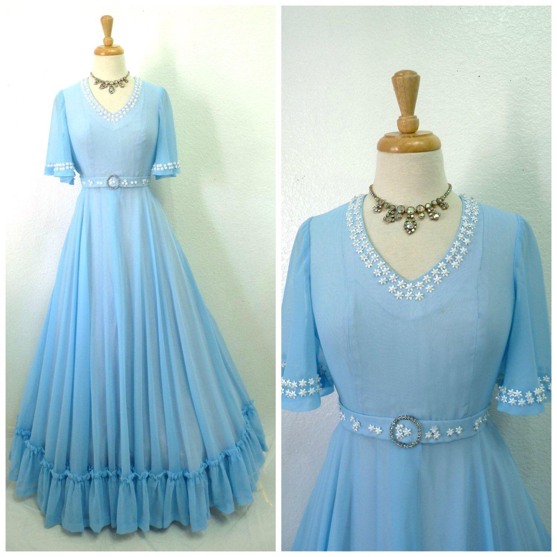 S dress blue sheer chiffon ruffle emma domb maxi dress pearl