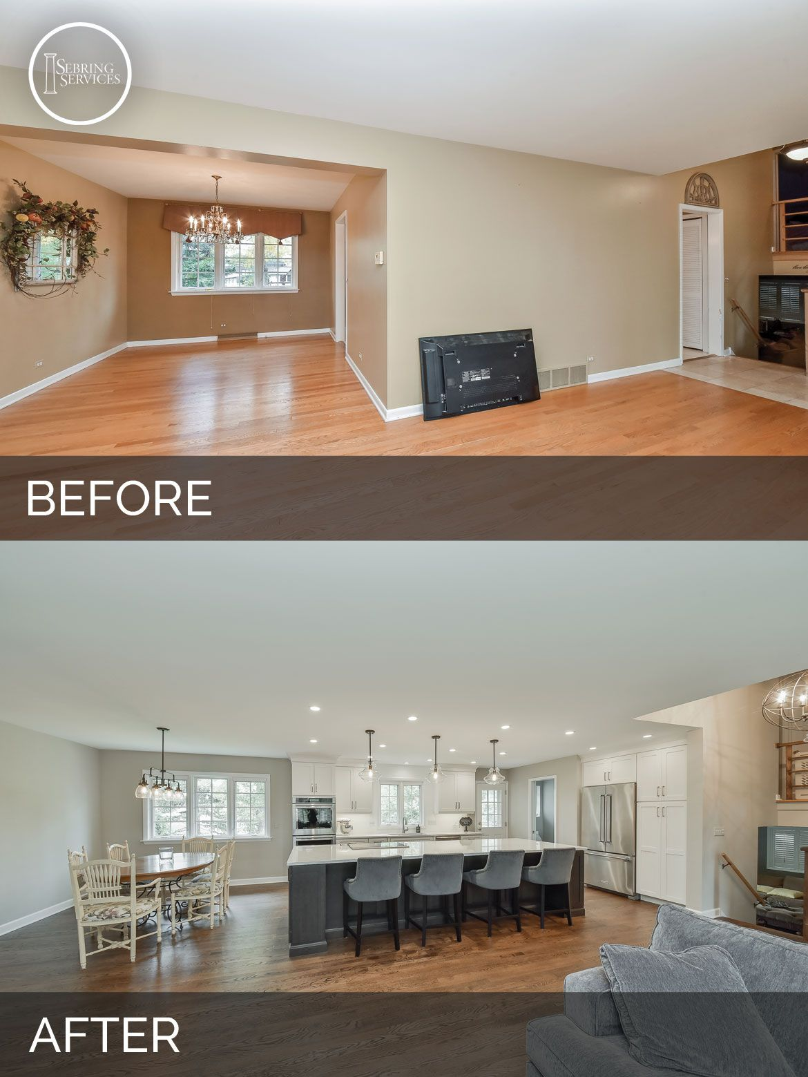Before and After Open Floor Plan Kitchen, Living Room, White ...