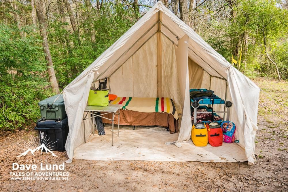 A look inside our canvas wall tent  Surprisingly it doesn't