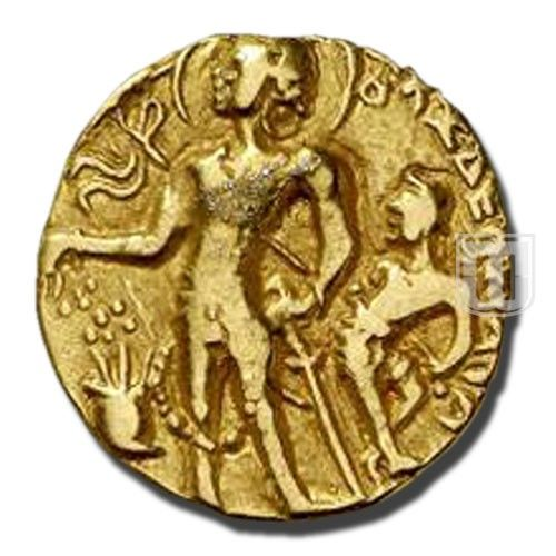 """DIANR   Coins of Gupta Dynasty   Ruler / Authority : Chandragupta II (Vikramaditya)   Denomination : Dinar   Metal : Gold   Weight (gm) : '7-9   Size (mm) : 19-23   Shape :Round   Types/Series : Chattra Type 1   Minting Technique : Die struck   Obverse Description : King is standing on left offering incense in altar which is towards left with right hand, left hand resting on sword's hilt, behind attendant holding a Chattra over him. Legend in Brahmi """" Maharajadhiraja shri Chandraguptah""""  """