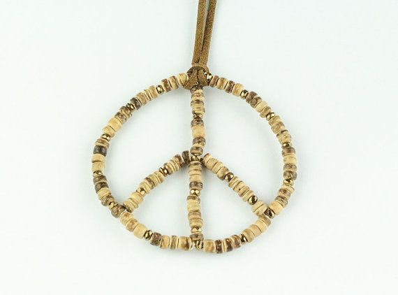 Peace sign necklace, long boho necklace with natural wooden beads