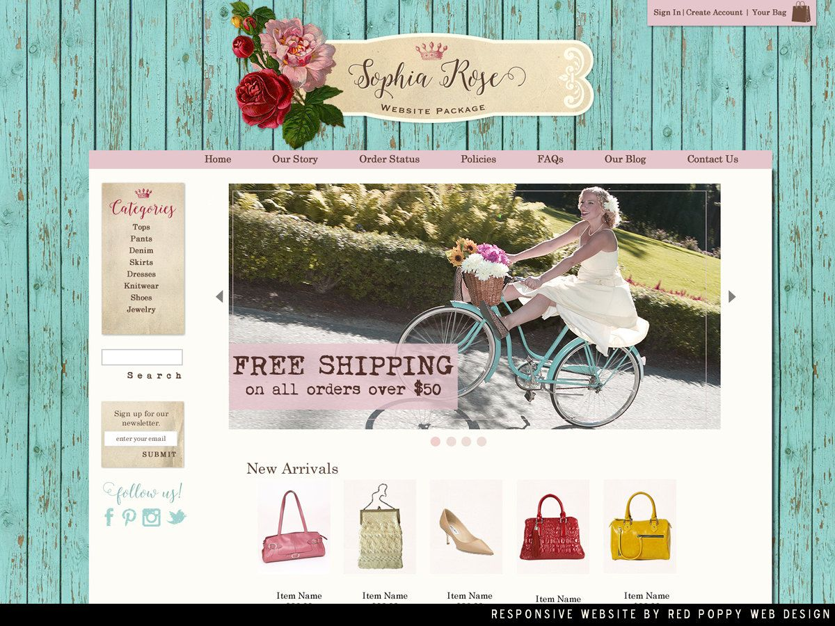 Boutique Website OOAK, Website Design, Ecommerce Website Template, rustic chic  shabby website,