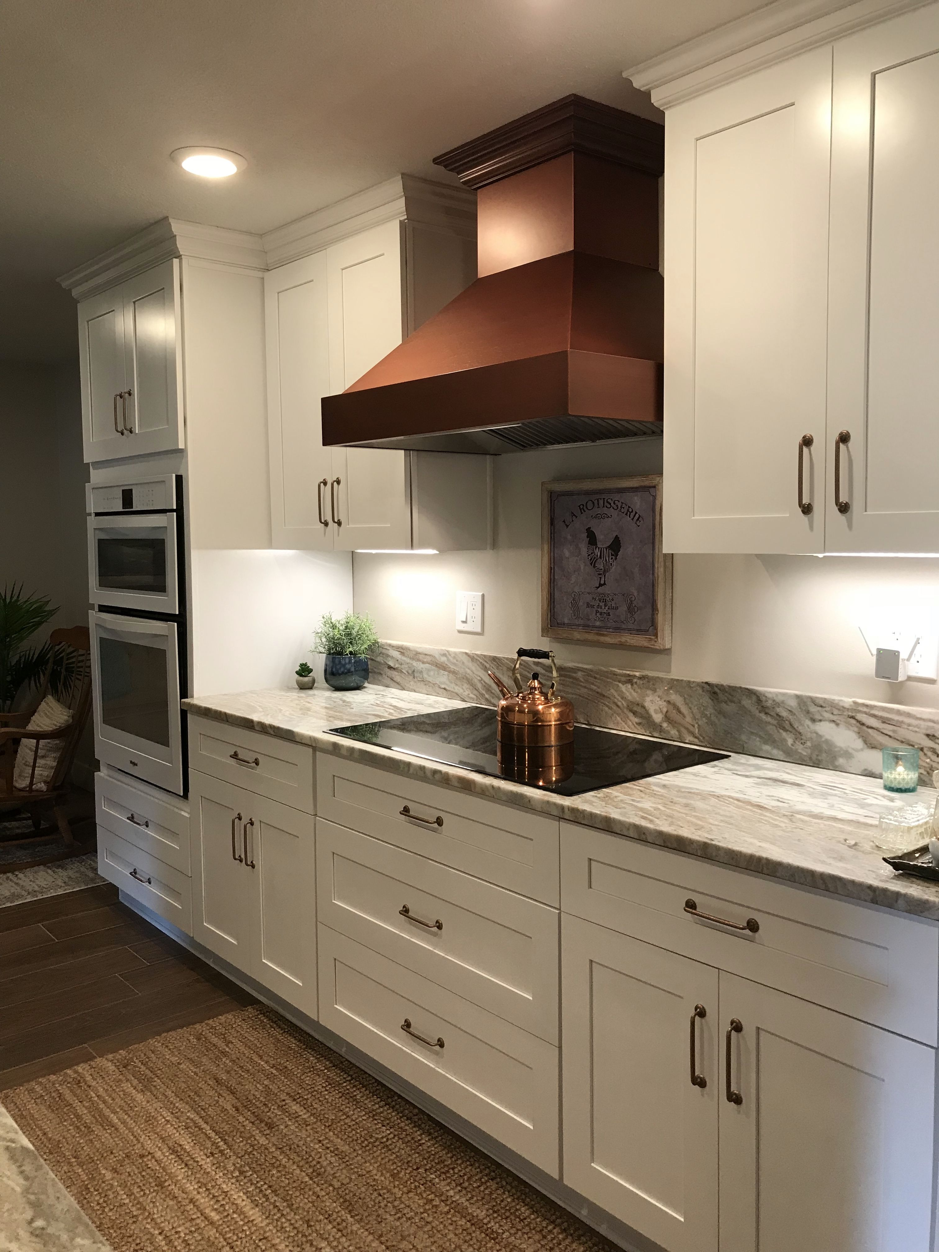 White kitchen with copper accents. (With images)   Kitchen ...