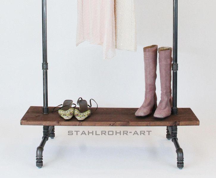 Kleiderstander Weis Metall ~ Kleiderstange vintage garderobe industriedesign von stahlrohr art