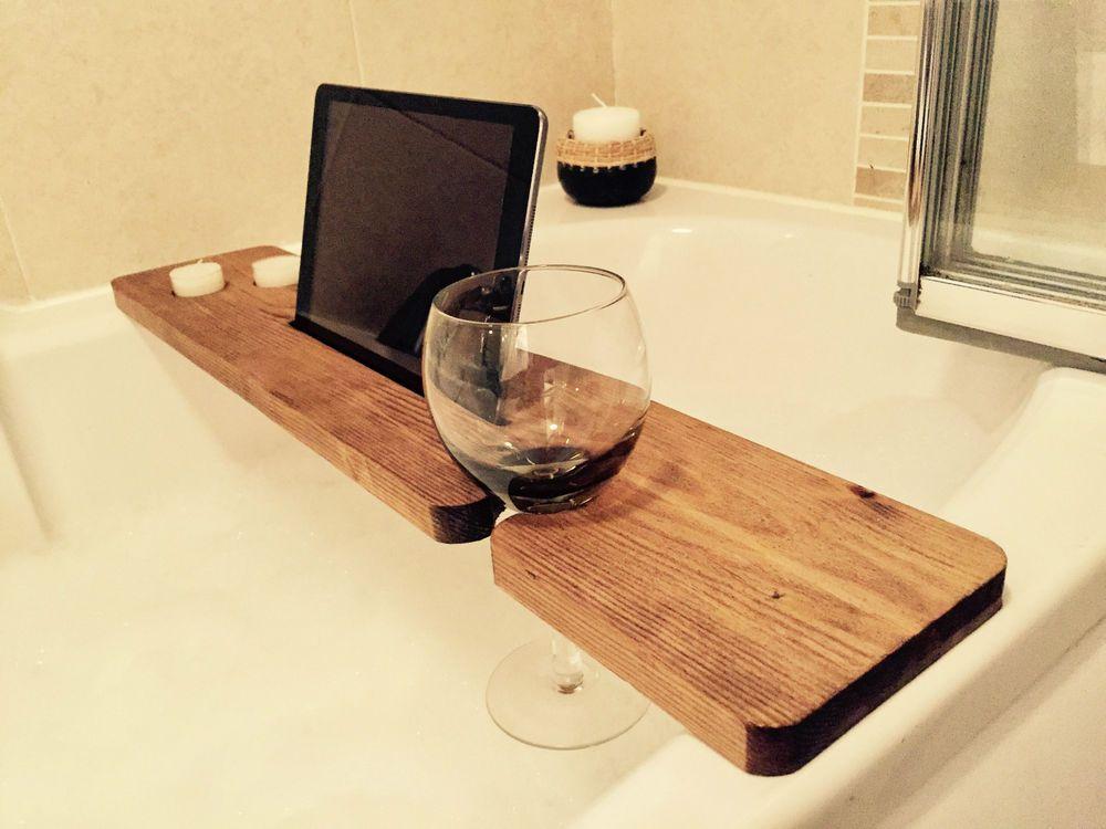 Wood Bath Caddy Wine Candle Iphone Ipad Holder Tray Shelf Bridge ...