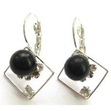 """Earrings is made of light metal with shungite stone - """"Velmira""""."""
