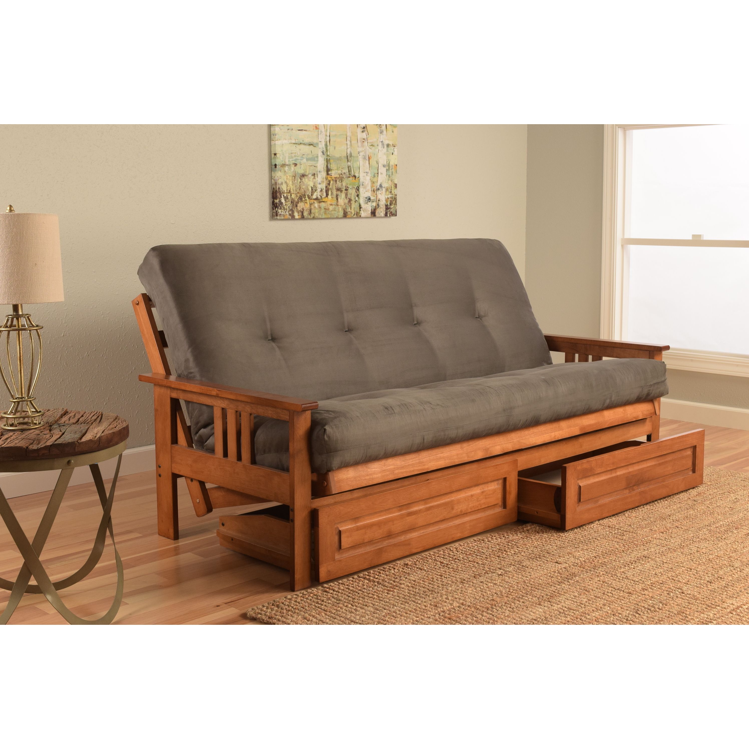 Somette Beli Mont Futon Set With Barbados Frame Suede Mattress And Storage Drawers