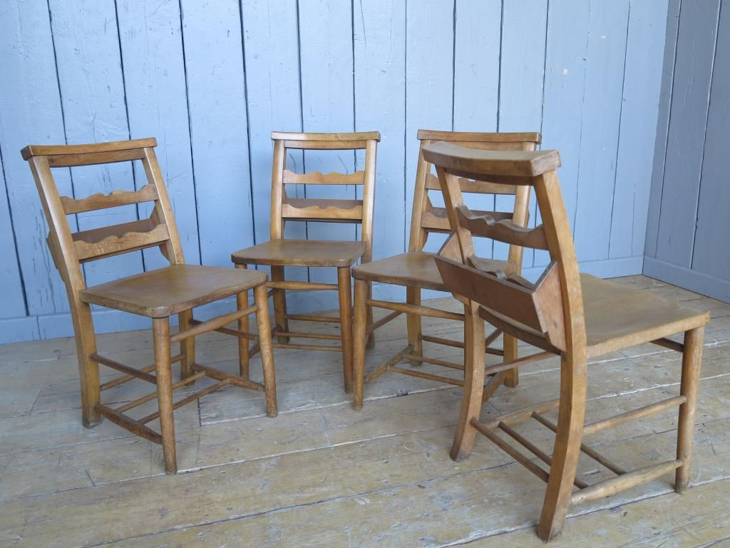 Set of 4 Antique Church Chairs with Lovely Back Rail Detail. These chairs  where salvaged from a church in North Lincolnshire. - Set Of 4 Antique Church Chairs With Lovely Back Rail Detail. These